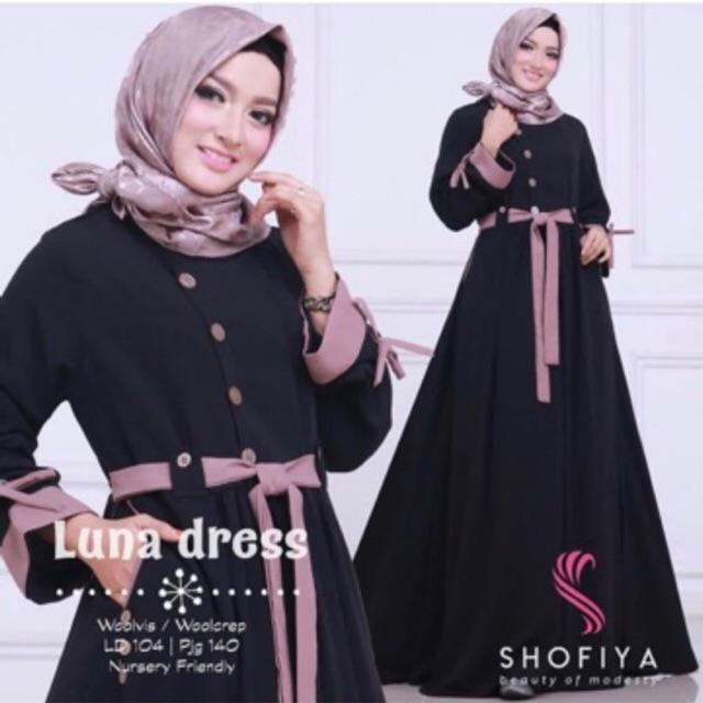 Luna Gamis Maxi Tangan Panjang Wanita Dewasa - Gamis Polos Balotelli Busana Muslim Wanita Gamis Murah Baju Lebaran Baju Pesta Baju Gamis Wanita Muslim Syari