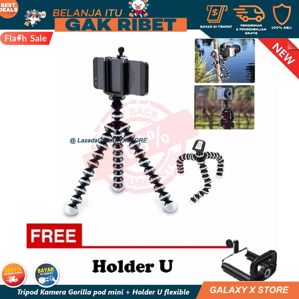 [ORIGINAL] COD/BYR DI TMPT - Neo Mini Tripod Gorilla Mini + Holder U flexible - Tripod Kamera HP -