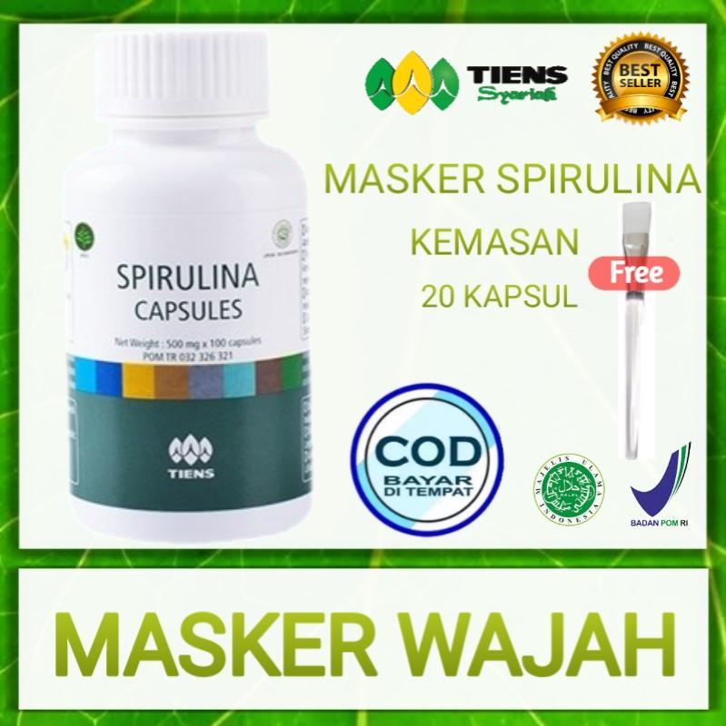 Masker Spirulina Herbal Alami - Obat Jerawat Memutihkan Wajah Promo 20 Kapsul - 100% Original Gratis Kuas By Fa_herbal.