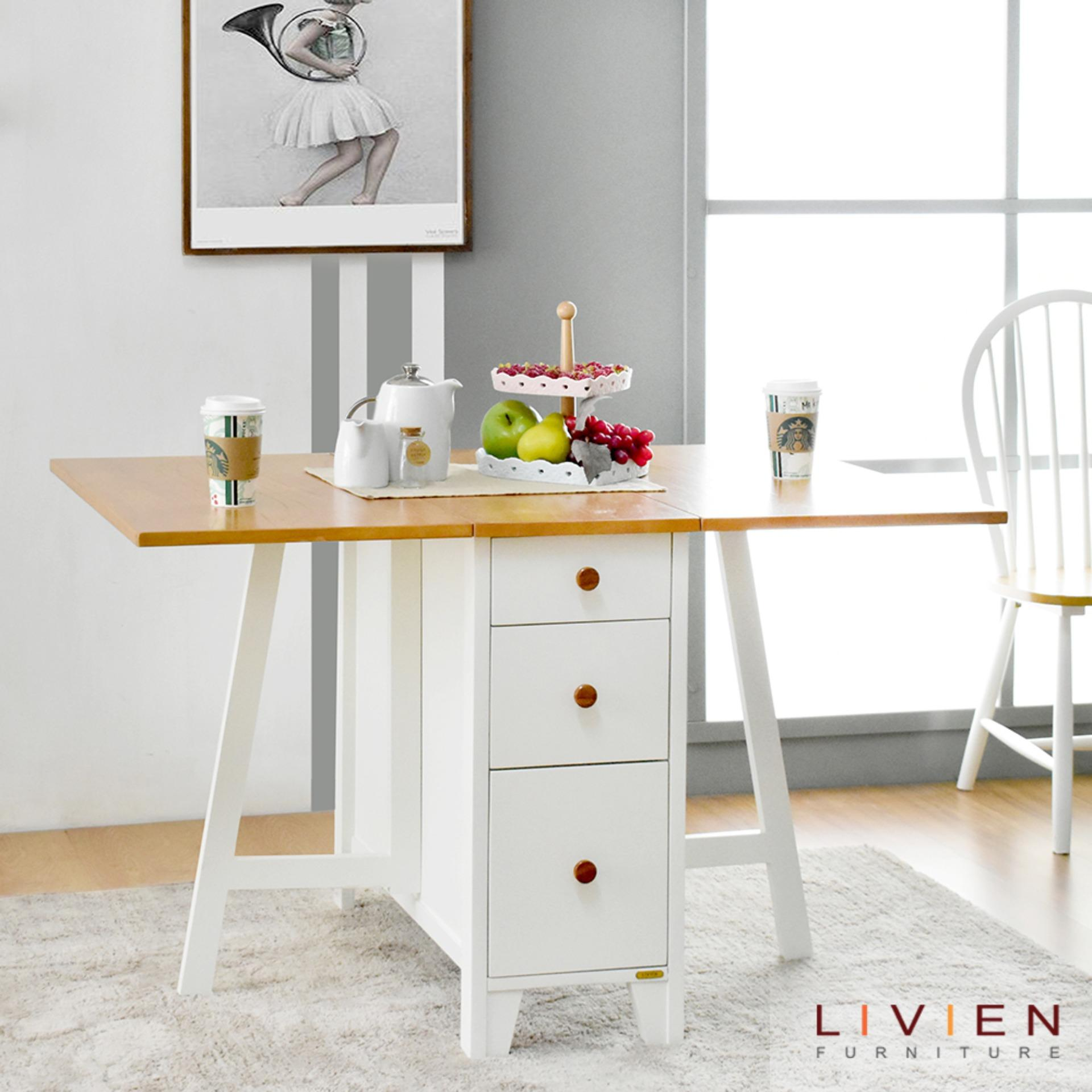 Livien - Meja Makan Lipat Minimalis Transformers Maple Story By Livien Furniture.