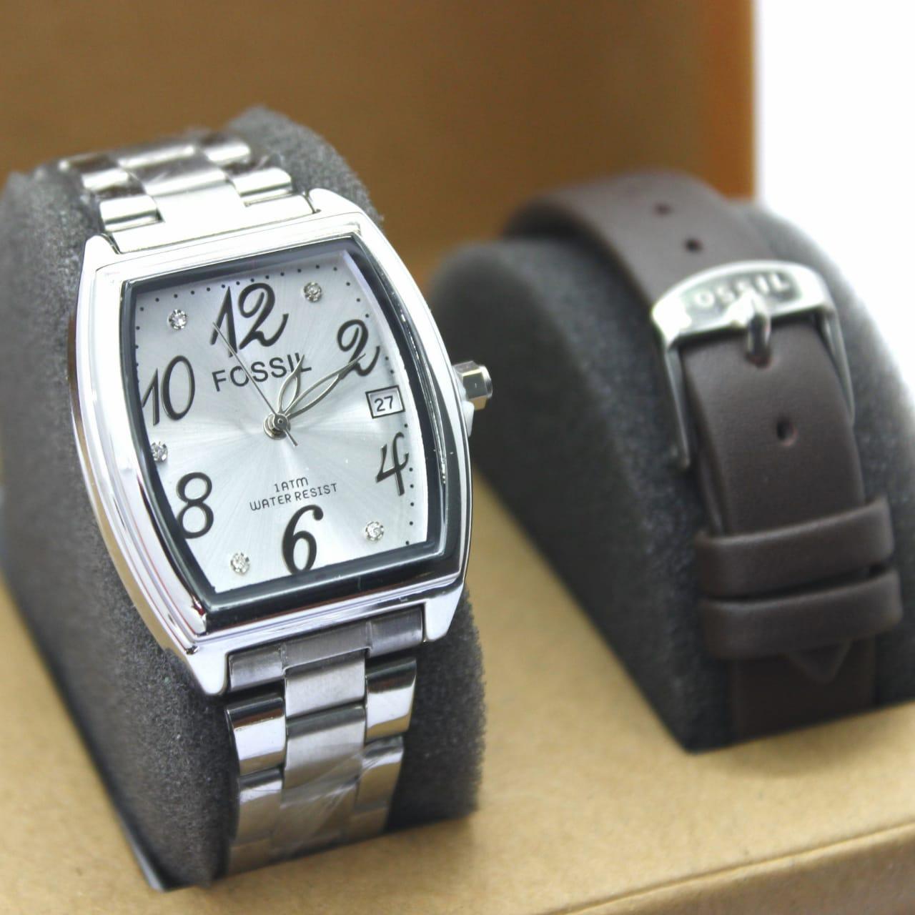 jam tangan fossil wanita tali rantai tanggal aktif FREE box dan tali kulit (COD)
