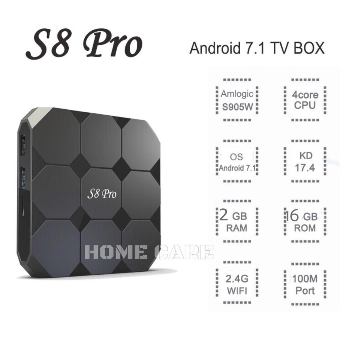 S8 Pro 4k Android Tv Box 2gb/16gb Wifi Bluetooth Hp Quad-Core S8pro Android 7.1 Kodi Movie By Home Care Led.