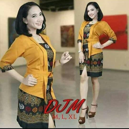 Stelan baju batik kebaya modern kutu baru & rok Plisket. Elnira Lengan pendek. keluaran terbaru -klip Store-