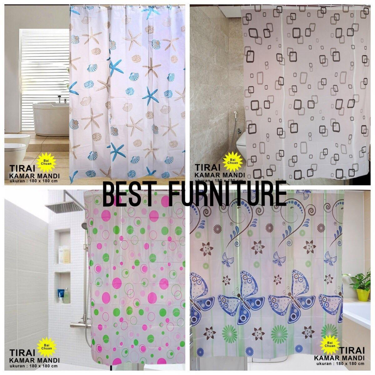 Best Shower Curtain 180 X 180cm Tirai Kamar Mandi Bathroom Waterproof Gorden Hordeng Toilet - Random By Best Furniture.