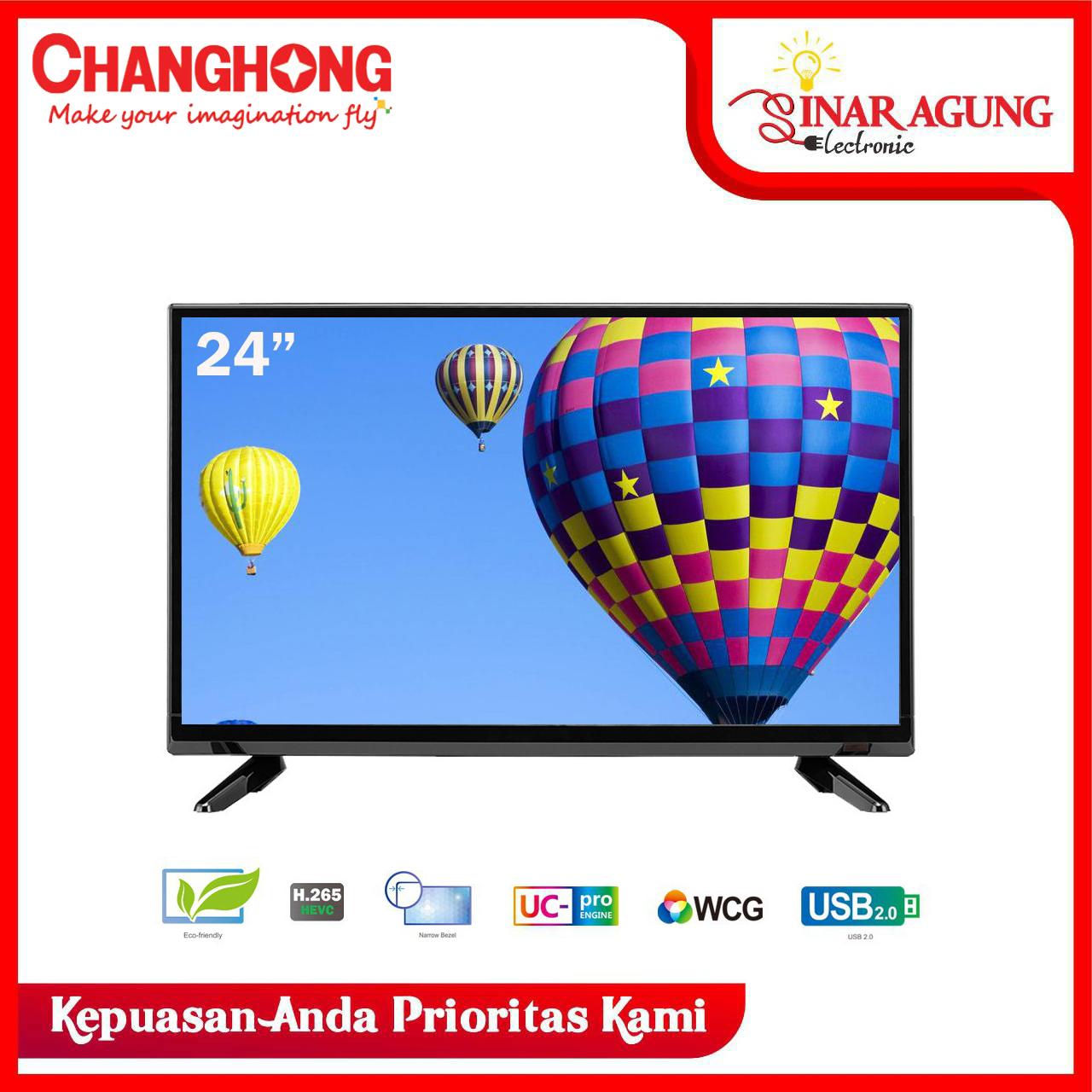 Changhong 24 Inch LED TV HD TV (Model : L24G3) HDMI - USB Movie - Garansi Resmi 3 Tahun