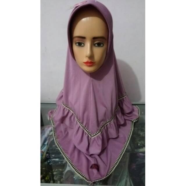 Jilbab Instan Model Terbaru kerudung langsungan ukuran standard warna pink hitam nila coklat