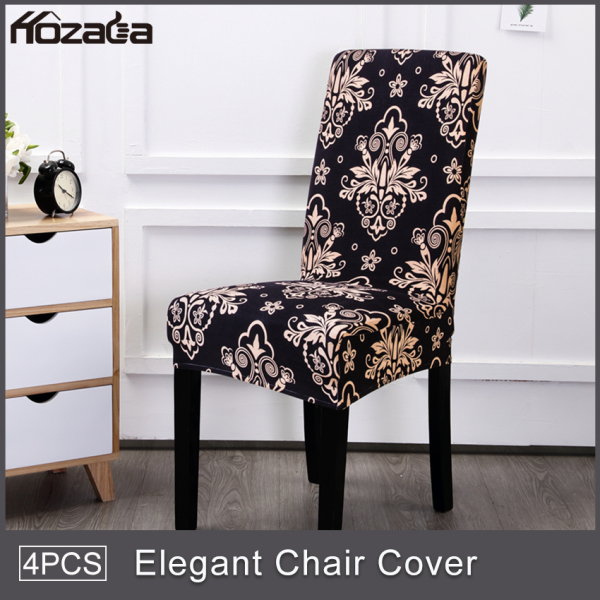 Hozada 6pcs Chair Covers Elastic Chair Covers Non-slip Chair Covers Removable Washable Chair Seats Protector Slipcover Stretch Seats Covering for Dining Room Home Party Hotel Wedding