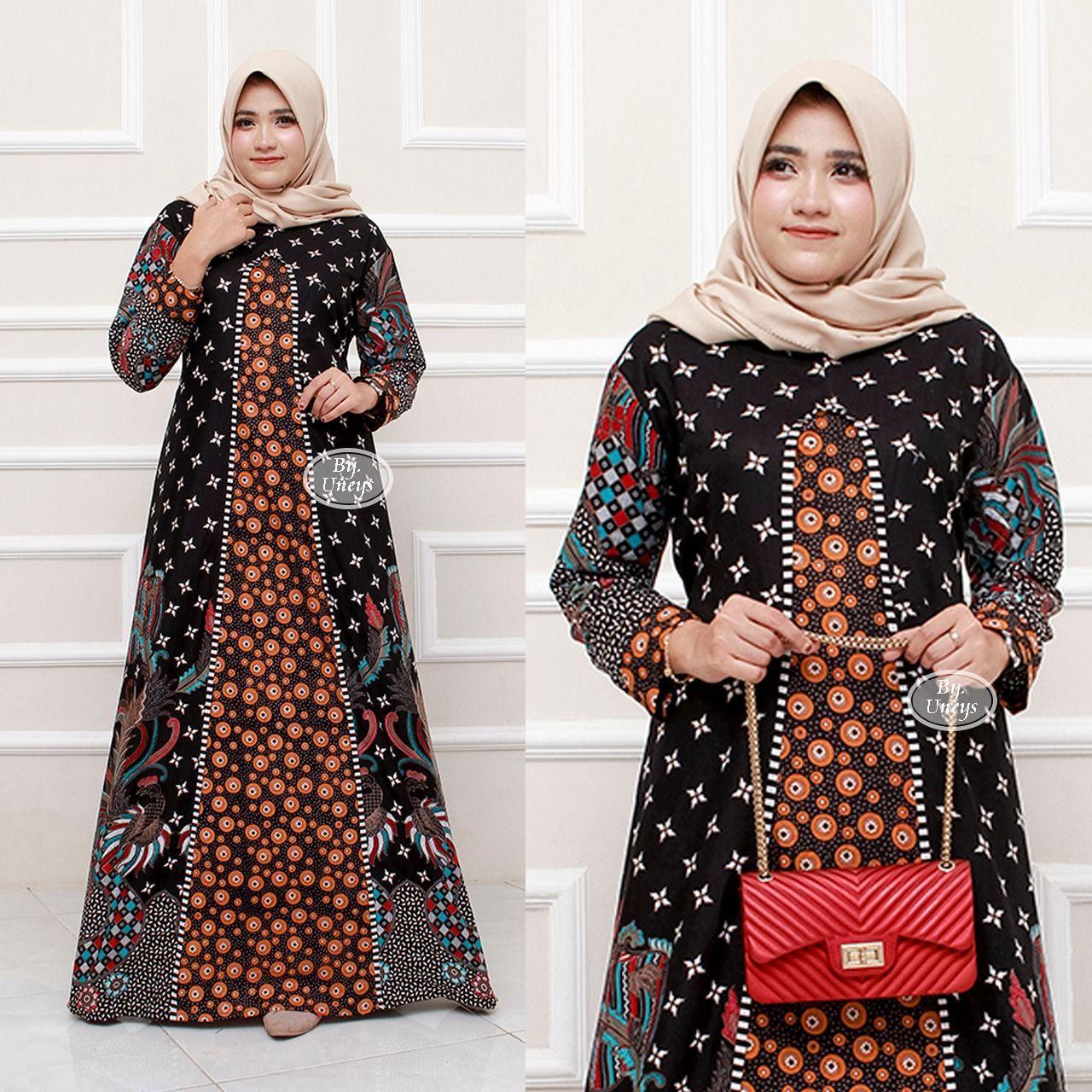 Berkah_10 baju gamis batik kombinasi pakaian batik wanita baju batik  muslimah AF
