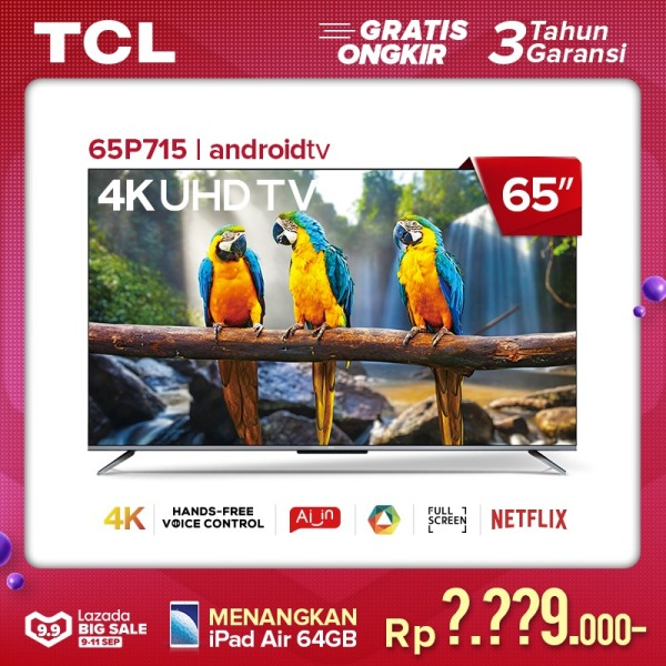 TCL 65 inch Smart LED TV - Android 9.0 - 4K Ultra HD - Google Voice/Netflix/YouTube - WiFi/HDMI/USB/Bluetooth Dolby Sound (Model : 65P715)