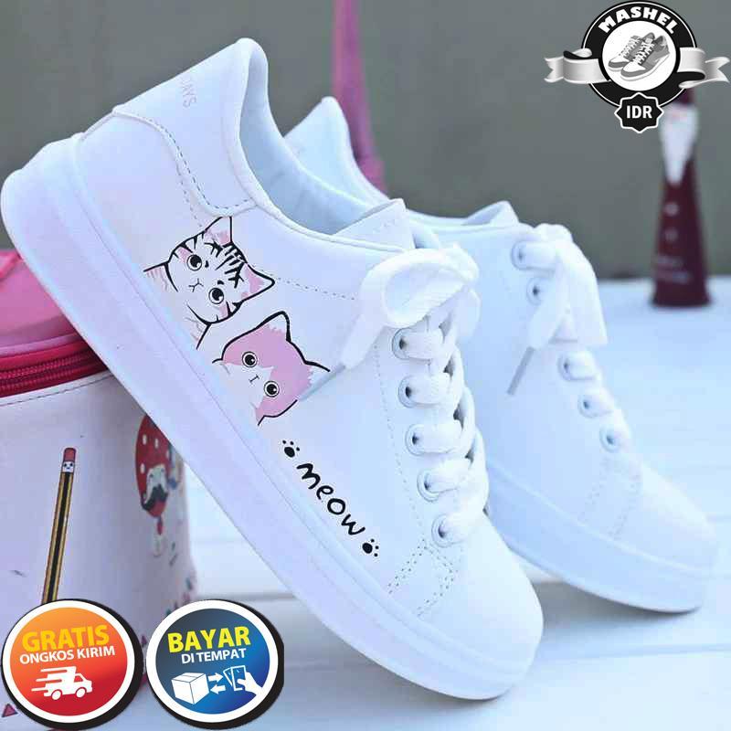MSL Sepatu Kets Wanita Motif Kucing Meow/ Sepatu Sneakers