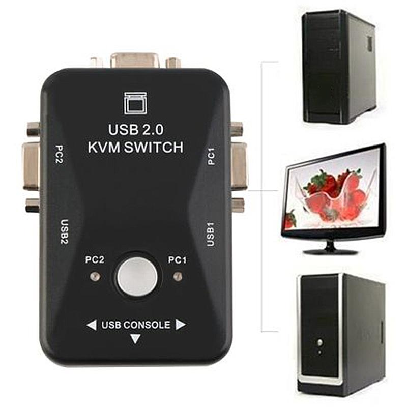 ZLOYI 【COD Ready stock】Latest USB KVM Switcher Switcher 2 Port VGA SVGA Switch Box USB 2.0 Mouse Keyboard 1920 * 1440 Switcher