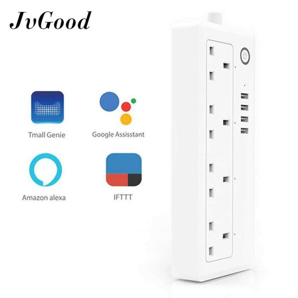 JvGood Smart WiFi Power Strip APP Remote Voice Individual Control With Tmall Genie Amazon Alexa Google Home Assistant 4 AC 4 USB Extension Lead Cord Timer Via Android IOS Smartphone Tablets