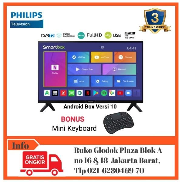 PHILIPS LED Digital TV 43inch FHD Smart Android Box Ram2GB 43PFT4002 [Bebas Ongkir]