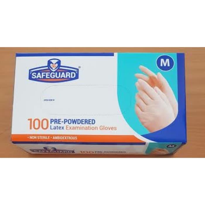 [Bayar di Tempat] LM Sarung Tangan Latex Sarung Tangan Karet SafeGuard Disposable Alat Kesehatan