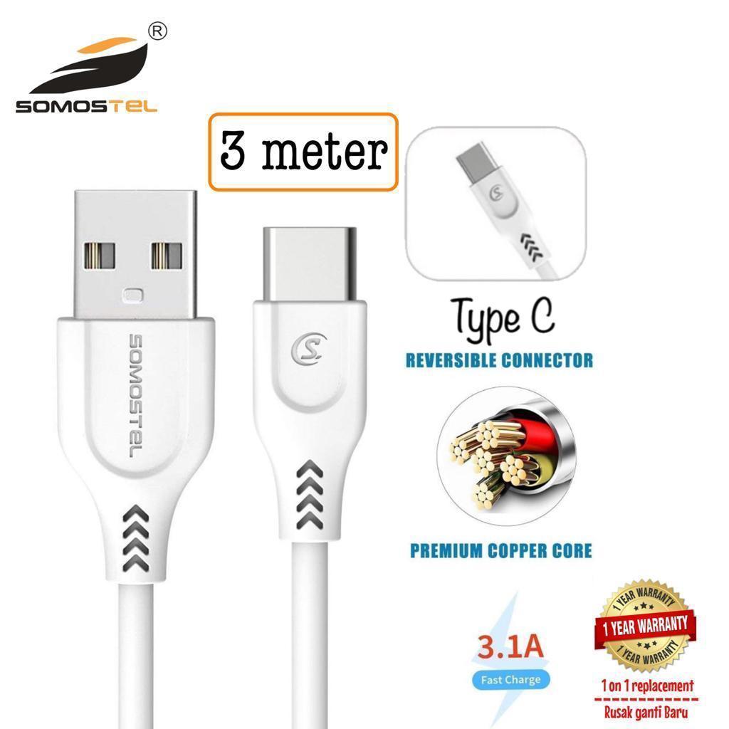 Somostel kabel usb 3 meter fast charging tipe C, garansi resmi 1 tahun, rusak ganti baru + ongkir klaim garansi gratis