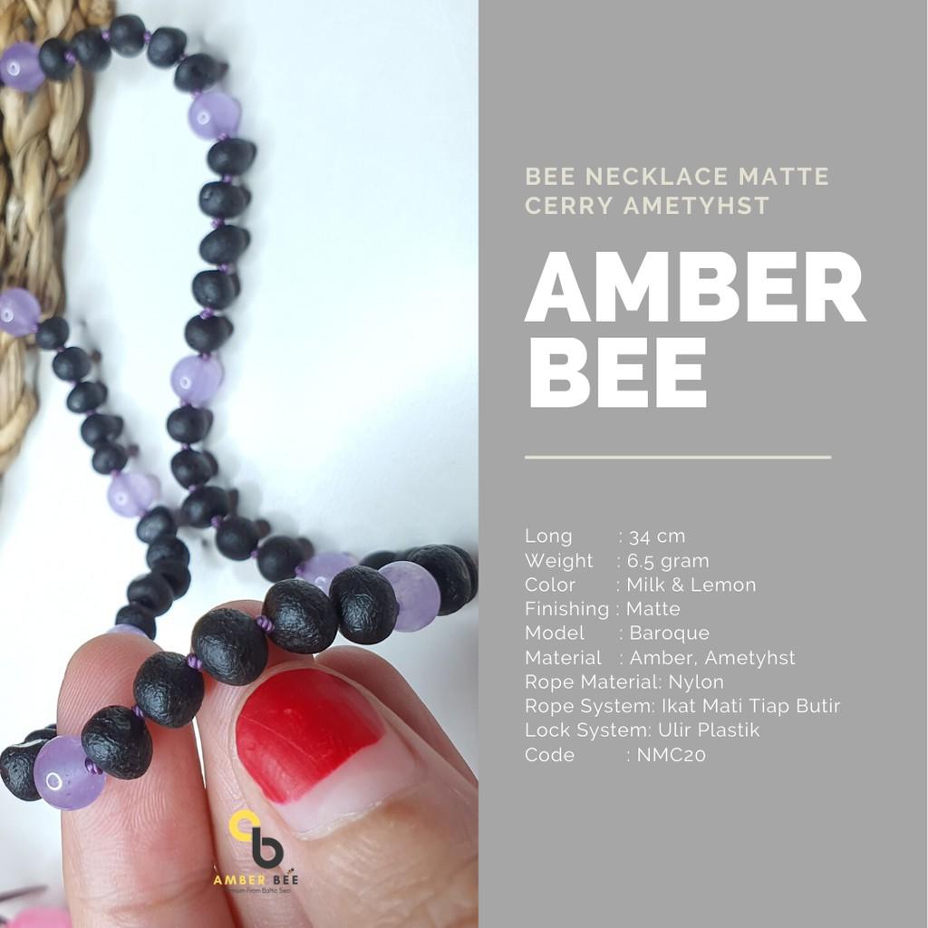 Kalung Amber Anak Premium Matte Cherry Ametyhst NMCA20 By Amber Bee