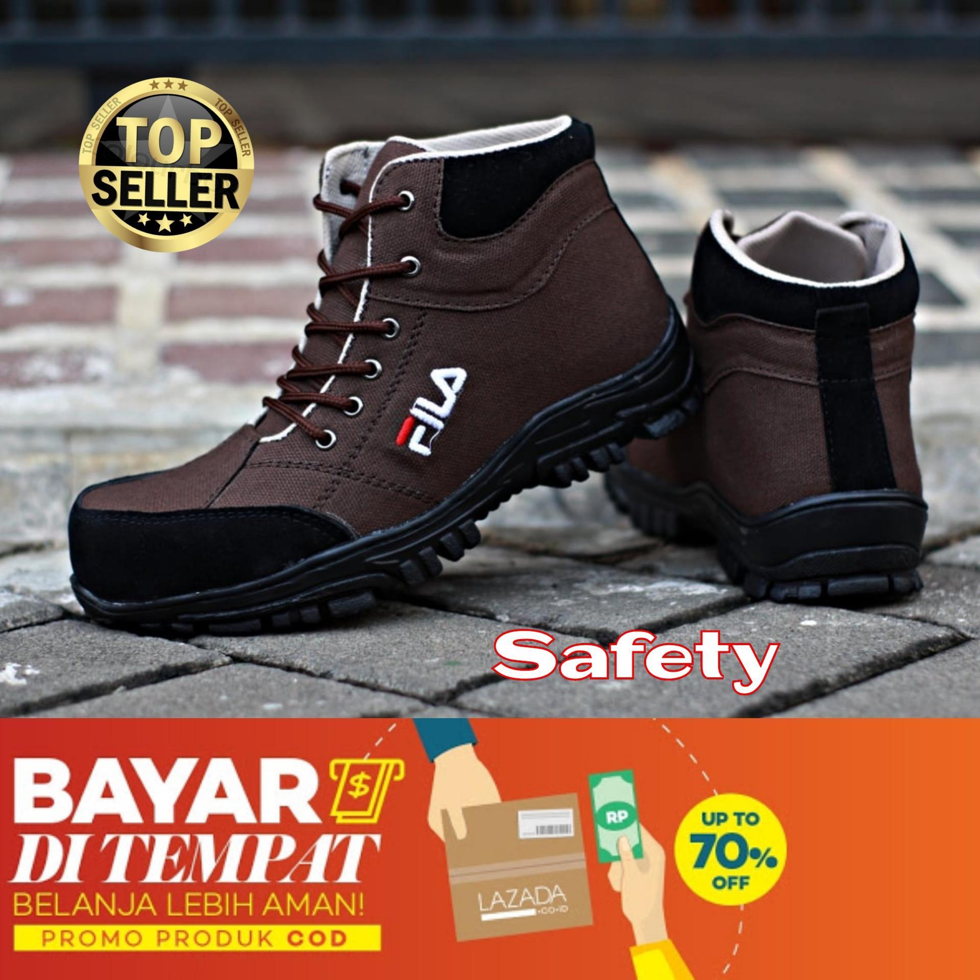 Sepatu Tracking Boots Safety Fila Sepatu gunung Hiking Kerja proyek safety shoes kerja lapangan Casual Sneakers Olahraga sepatu Pdl Pdh boot ujung besi pria bayar di tempat