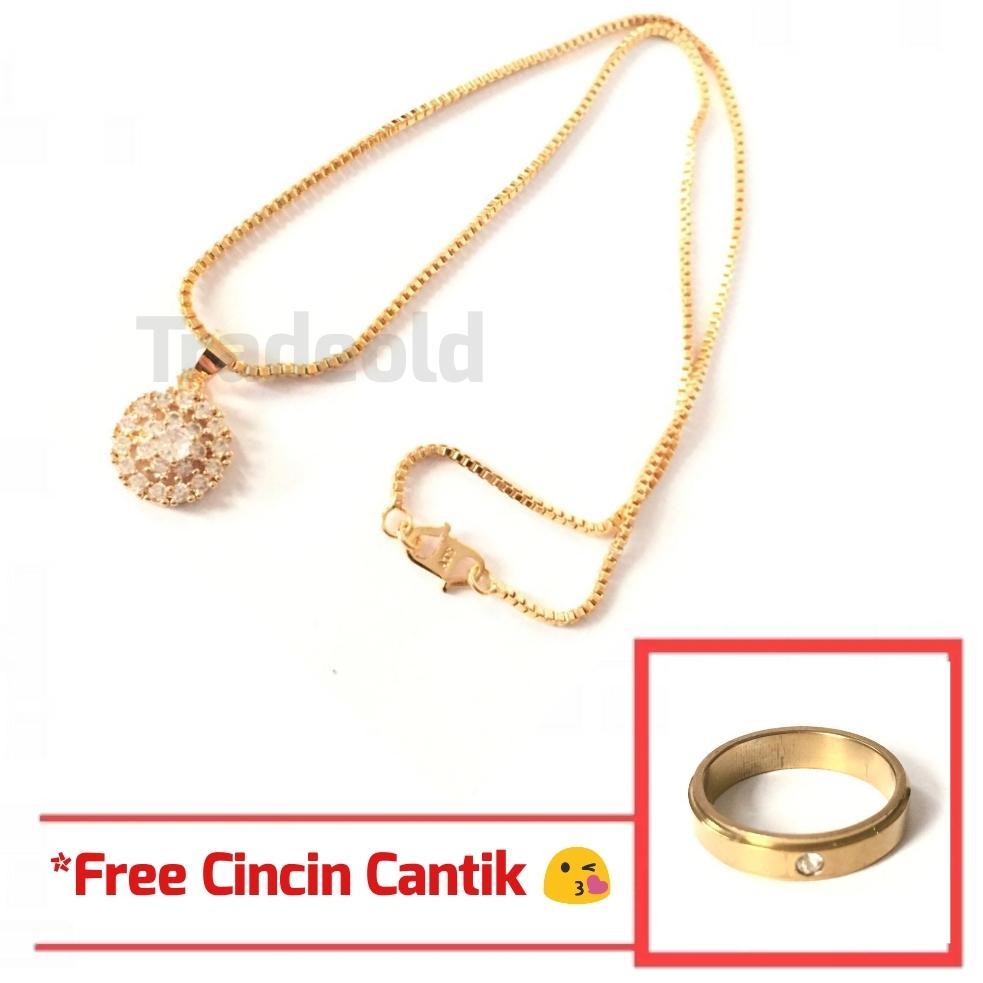 Kalung Xuping Perhiasan Cantik Wanita Liontin Permata Bulat Cantik - Xuping Gold 05 *Free Cincin