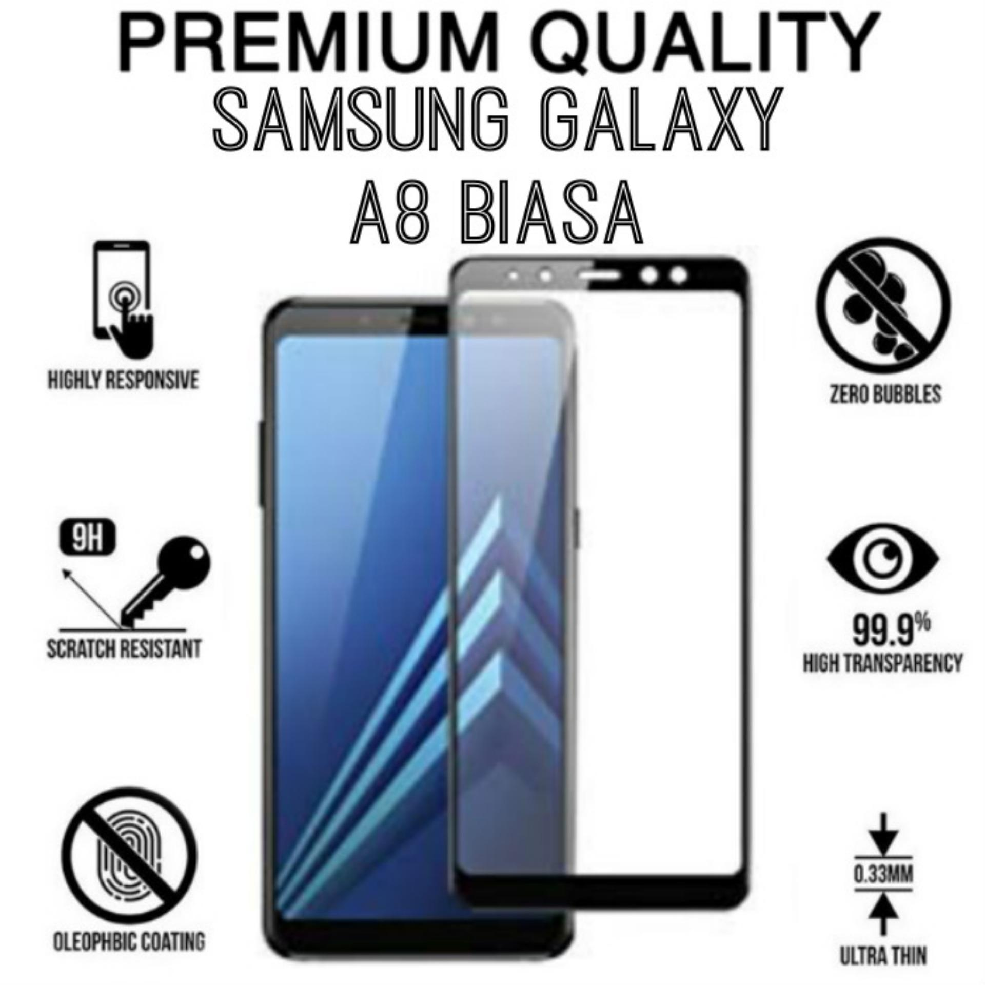 Tempered Glass 9D For Samsung Galaxy (A8 BIASA) - (A DELAPAN ) Full Glass // FULL SCREEN //- Come Store