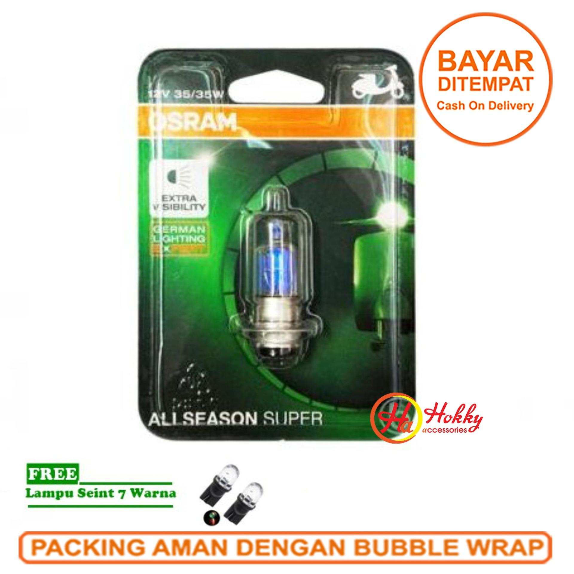 Osram Lampu Depan Motor Yamaha Jupiter MX 135 2007-2014 - 62337ALS All Season Super + Free Lampu Sein LED 7 Warna