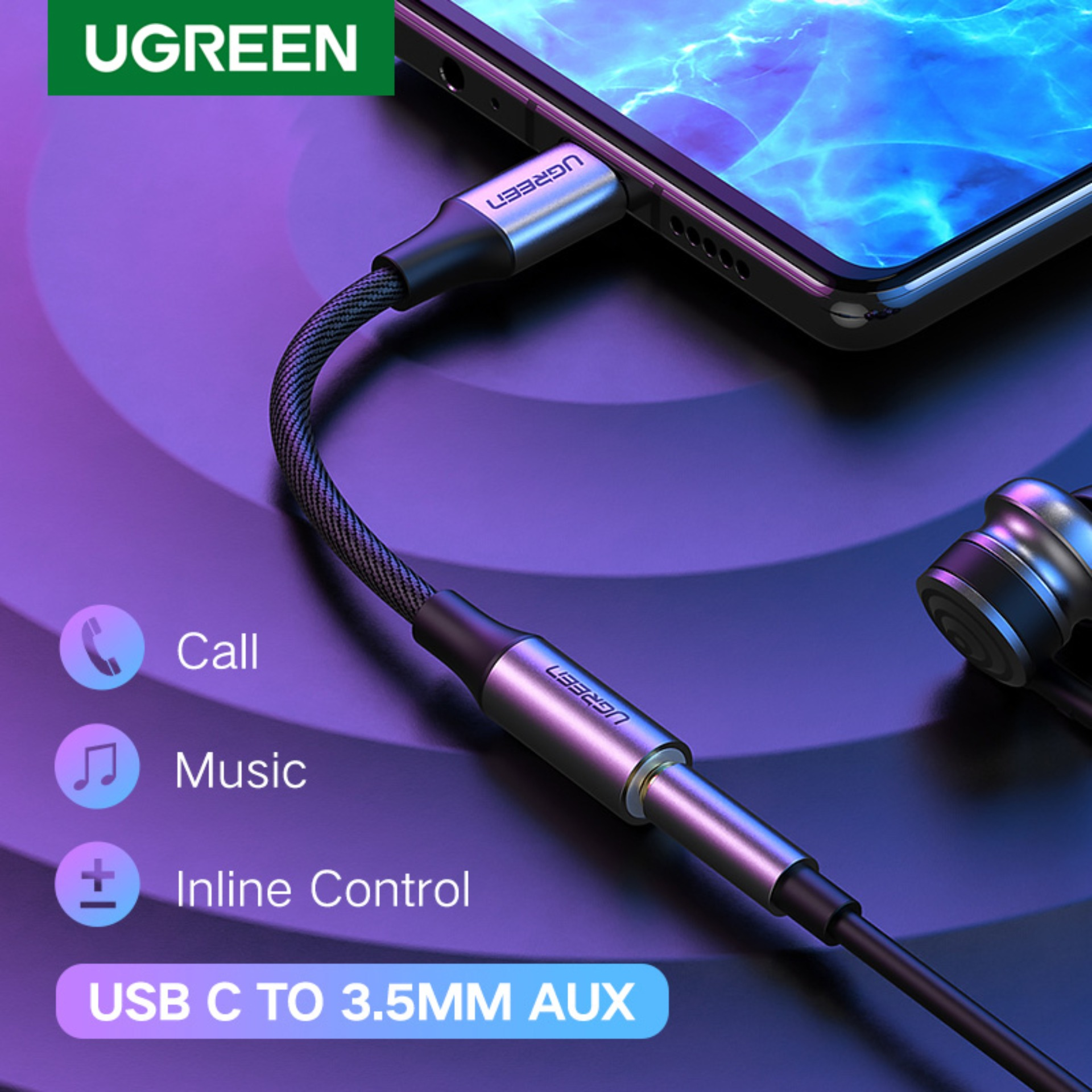 USB-C to 3.5 mm Headphone Jack Adapter,Type C to 3.5mm Braided Audio Aux Cable Adapter Cable Compatible with Huawei P30 Pro 1 Pack P20 Pro//Mate 20 Pro//iPad Pro//Google Pixel//Samsung//OnePlus//Xiaomi-