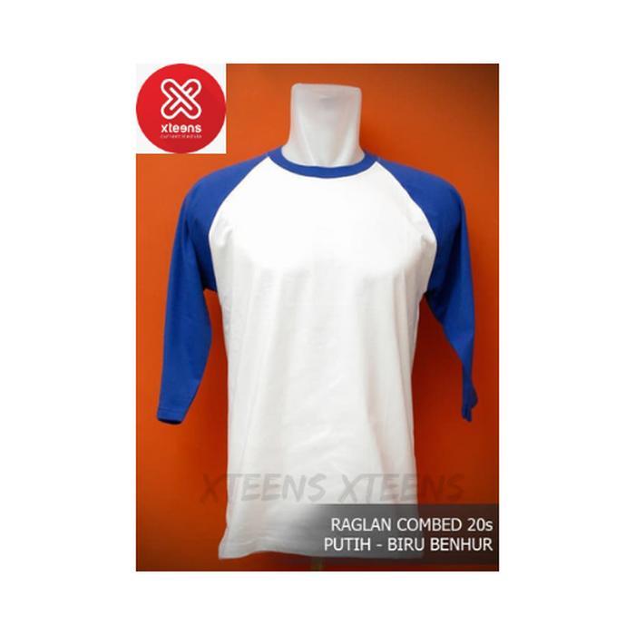 Kaos Polos Raglan Cotton Combed 20's Putih-Biru Benhur ML