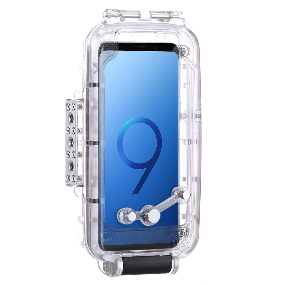 Puluz 40M / 130Ft Smartphone Waterproof Case For Samsung Galaxy S9+ Deep Sea Diving Case Support Shockproof Snowproof Dirtproof Ip68 Protective Underwater Housing (Transparent)