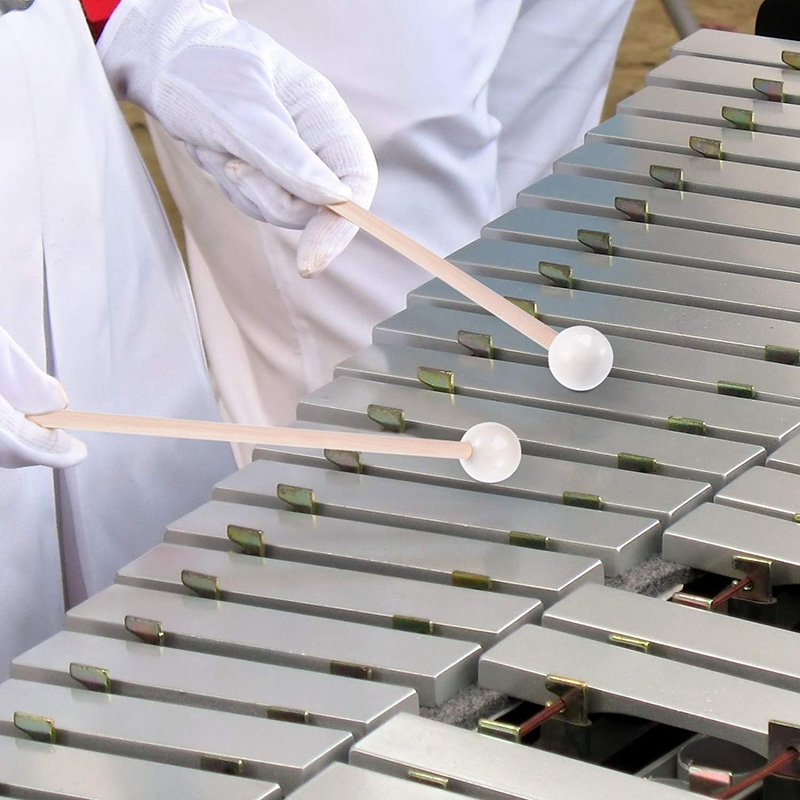 1 Pair of White Hard Rubber Drum Sticks Mallets Beaters Percussion Parts Glockenspiel Sticks with Wooden Handle Energy Bell Wood and Bells
