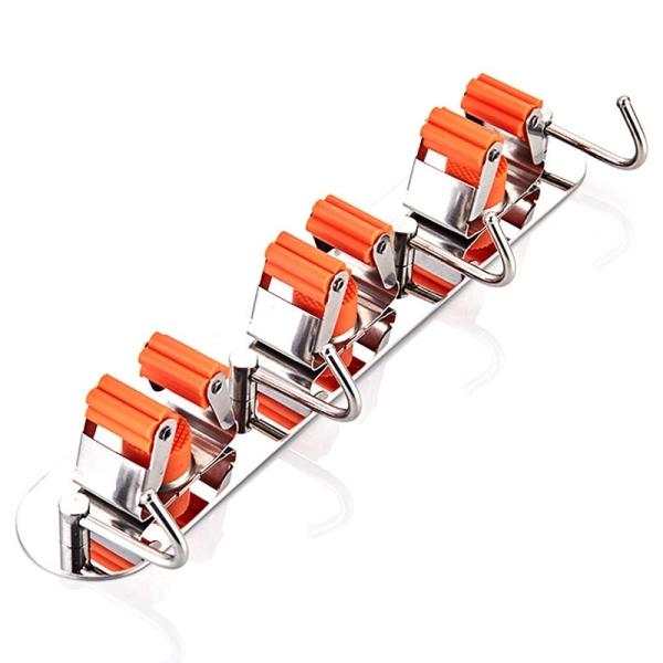 Stainless Steel Mop Broom Holder Self Adhesive Space Saver Kitchen Bathroom Rag/Broom/Mop Rack Storage Holder-3 Hooks