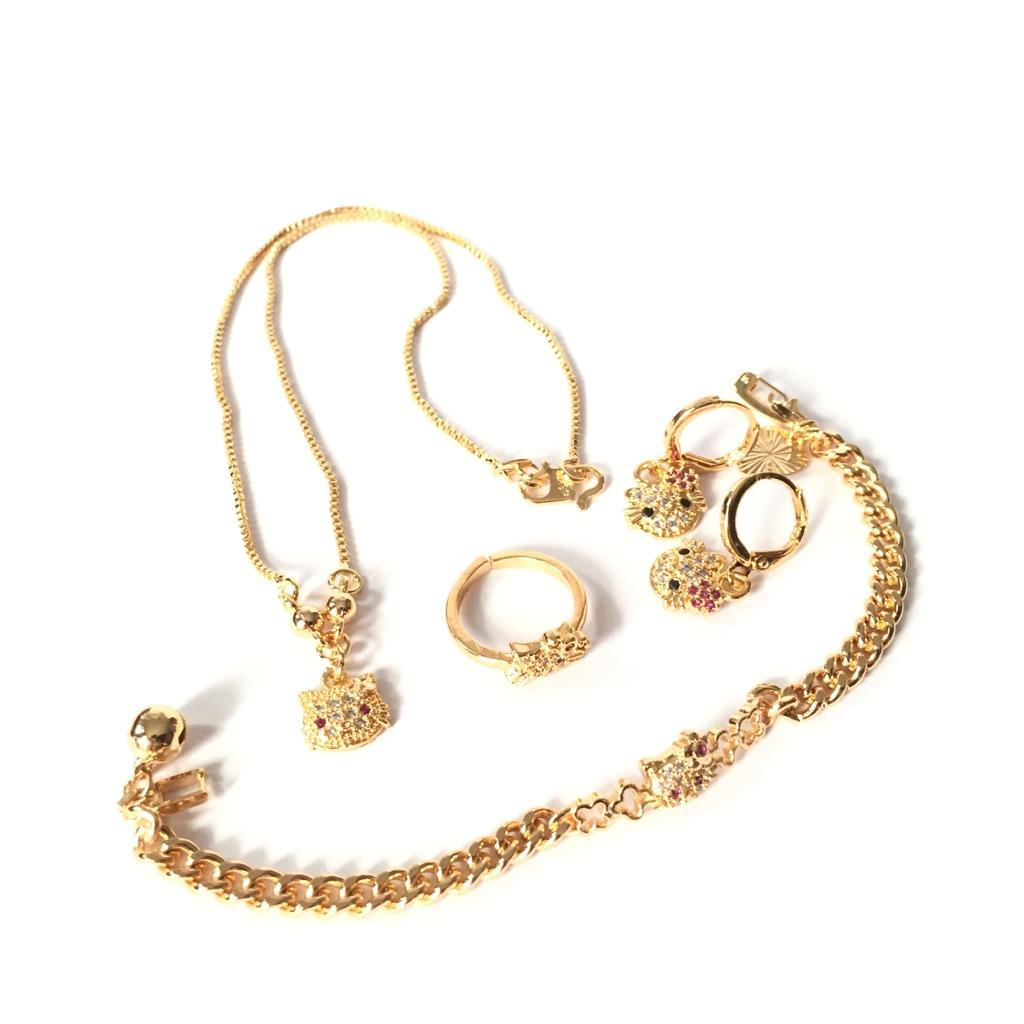 Xuping Set Perhiasan Anak Perempuan Motif HelloKitty - Xuping Gold Kalung 02 Gelang 07 Anting 02