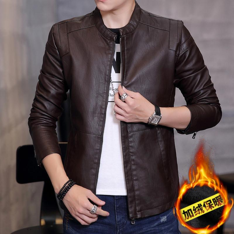 Korean Motorcycle Youth Light Coat Men Leather Jacket (black) (black) By Taobao Collection.