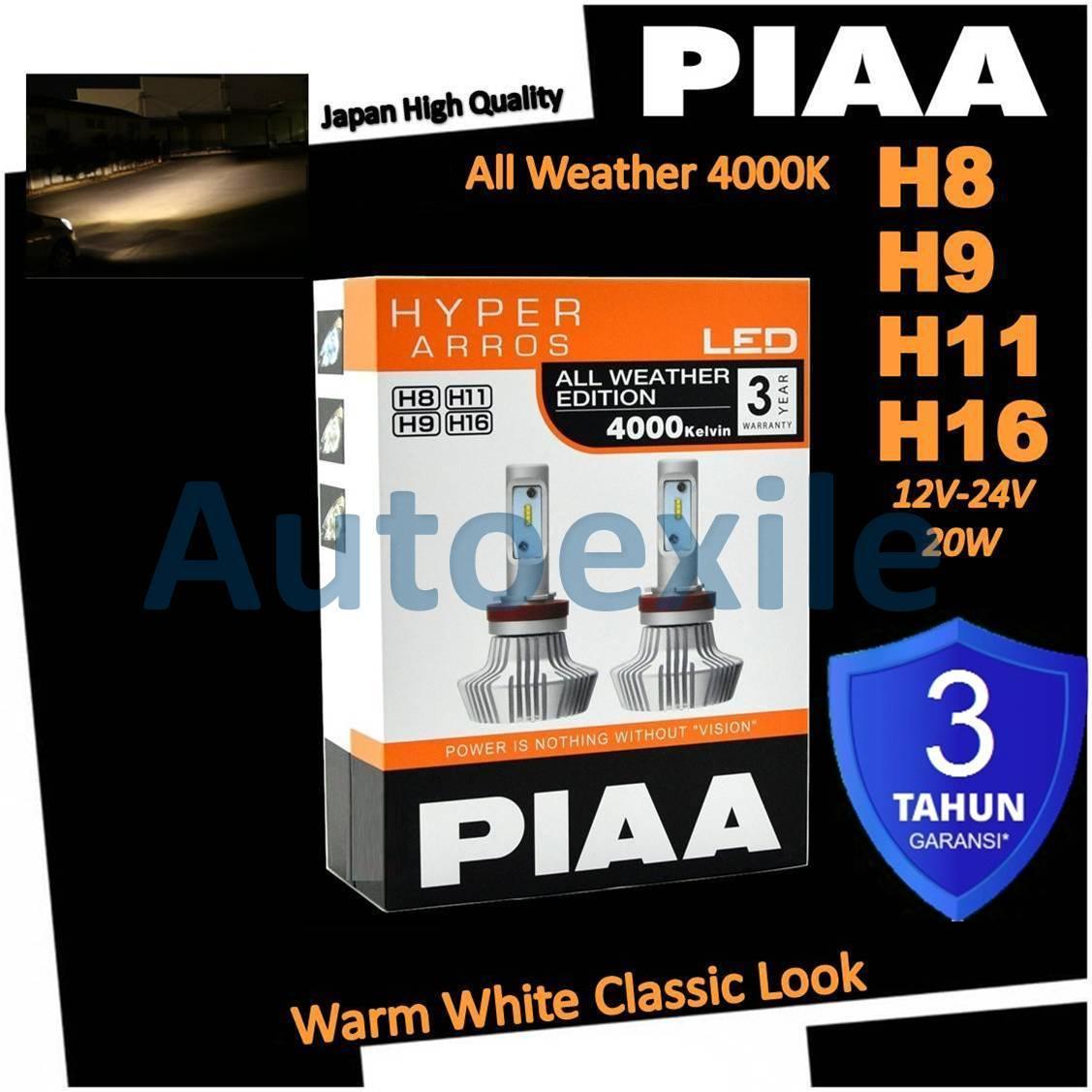 PIAA LEH132E Hyper Arros LED All Weather H8 H9 H11 H16 4000K Warm White Putih Kekuningan Lampu Mobil Agya Ayla Xpander Pajero Sport Fortuner VRZ Avanza Veloz Innova Reborn HRV  Camry Ertiga Rush Rav4 Prius Land Cruiser Outlander