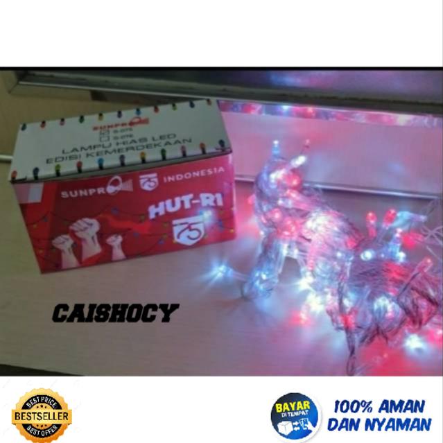 lampu led kelip sunpro HUT RI panjang 10m warna warni