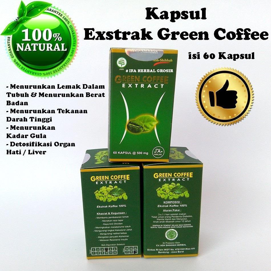 GREEN COFFE EXTRACT (kopi hijau)pelangsing yang aman &ampuh mengusir lemak isi 60 kapsul