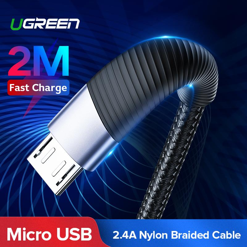 UGREEN Original Kabel Micro USB QC3.0 for Samsung J2, J5, Xiaomi Redmi, VIVO, OPPO Handphone Fast Charging Micro USB Cable for LG Android Cable USB Cord