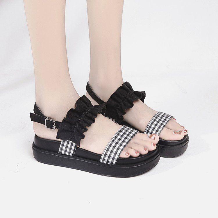 Sandal Wanita Wedges Sedang Coklat Muda Tali Bermotif Kotak Lucu - Sandal  Wedges US70- ANGEL 92fd808ab0