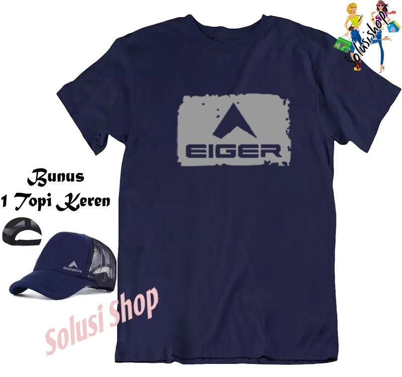 Baju Kaos Lengan Pendek EIGER Logo Blok Silver + Topi Eiger Keren