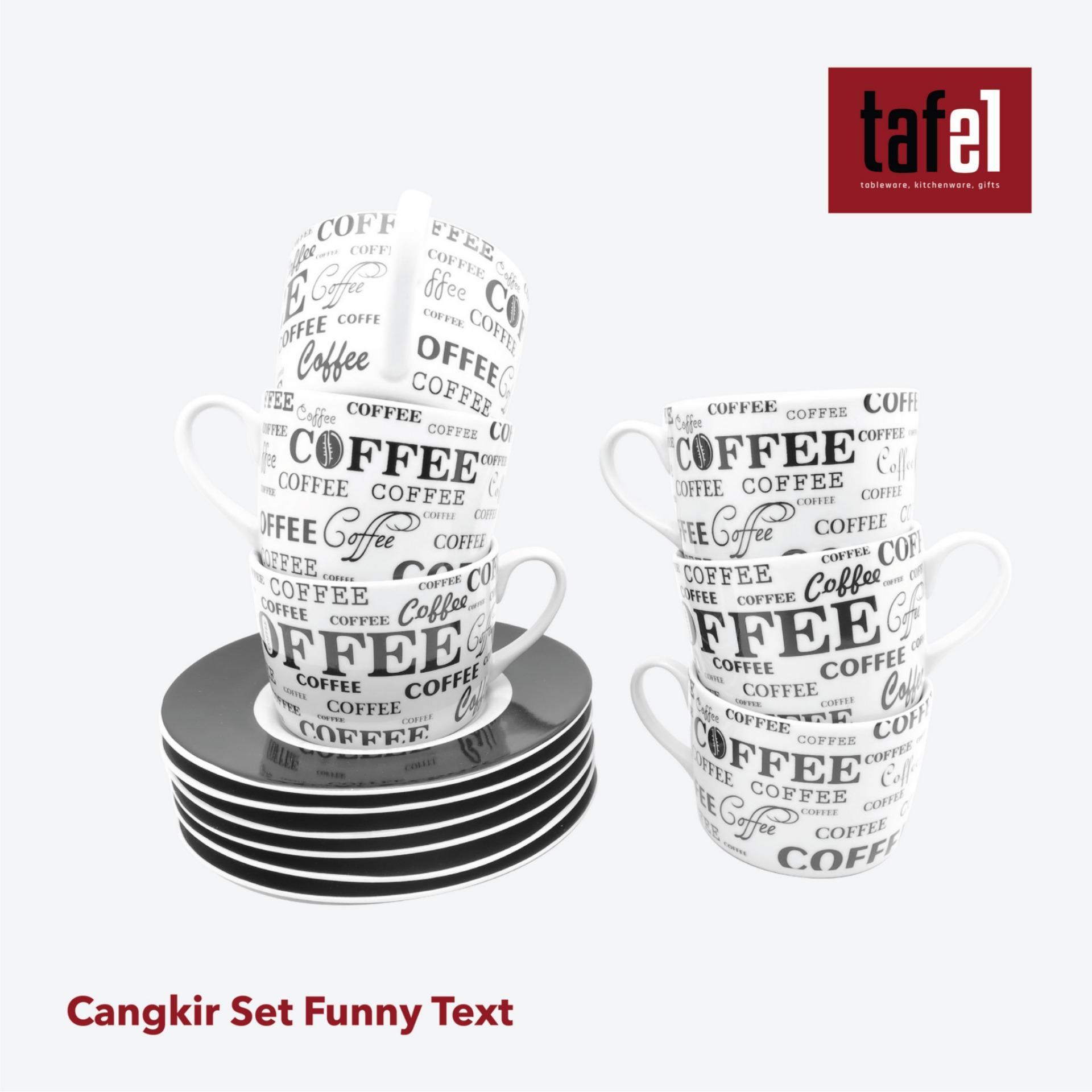 Tafel21 Cangkir Set Funny Text 12pcs / Cangkir Teh / Cangkir Kopi