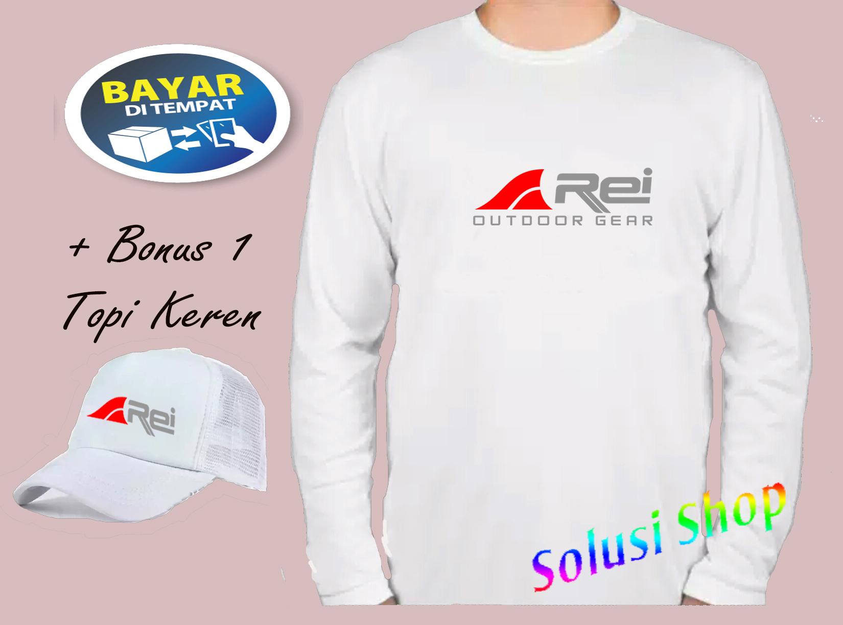 Promo..! Kaos Lengan Panjang REY Logo Merah Texs Silver + Topi Keren Premium Quality / Kaos Promo / Kaos Keren / Kaos Distro / Solusi Store Shop