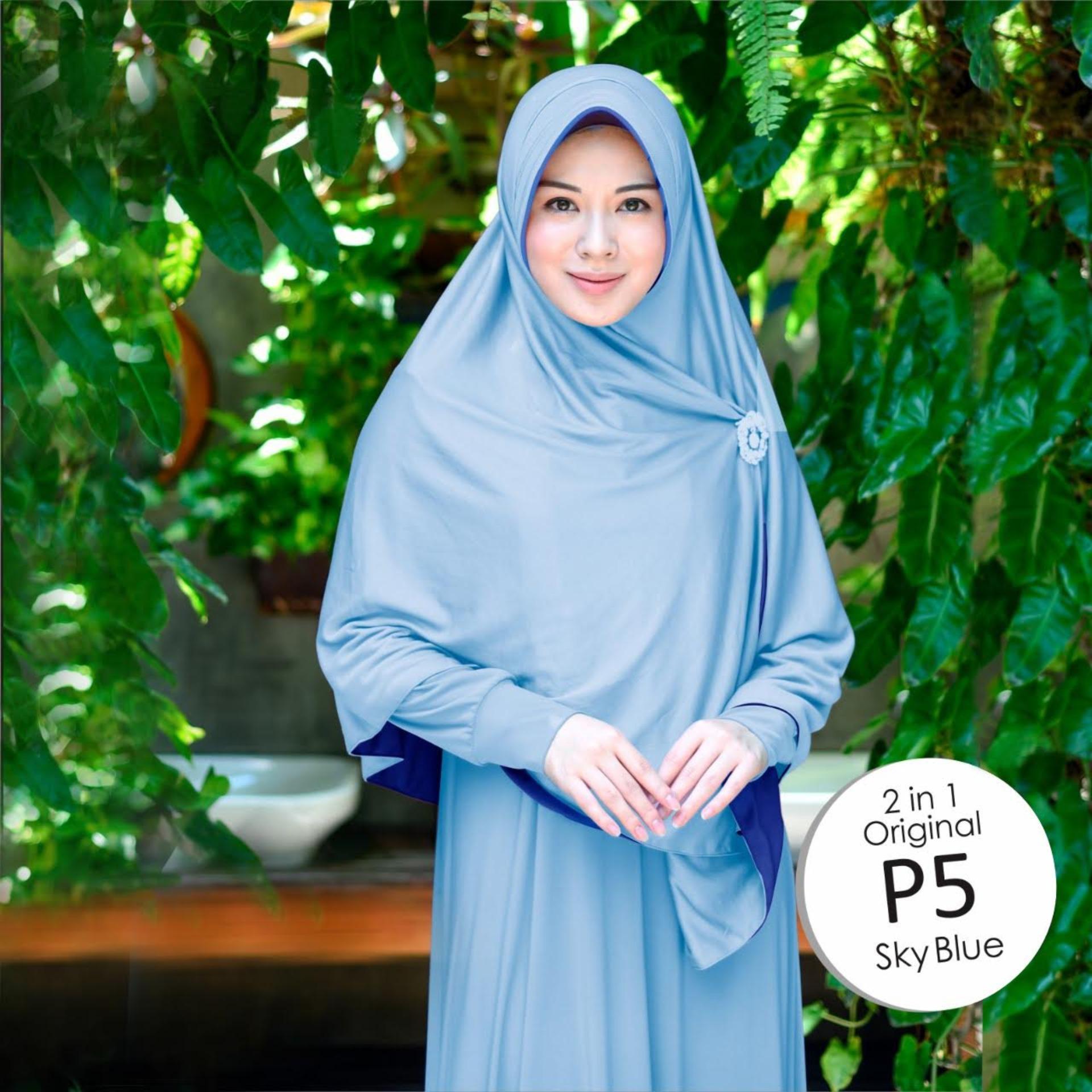Jilbab 2 Warna / Kerudung Fashion Wanita Muslim / Bolak Balik / Instan Dua Warna Polos Jumbo / Syari Bergo Besar Murah