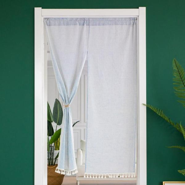 Japanese Style Door Curtain Fabric Partition Bedroom Kitchen Toilet Half Curtain Home-Free Punched Living Room Curtains Long