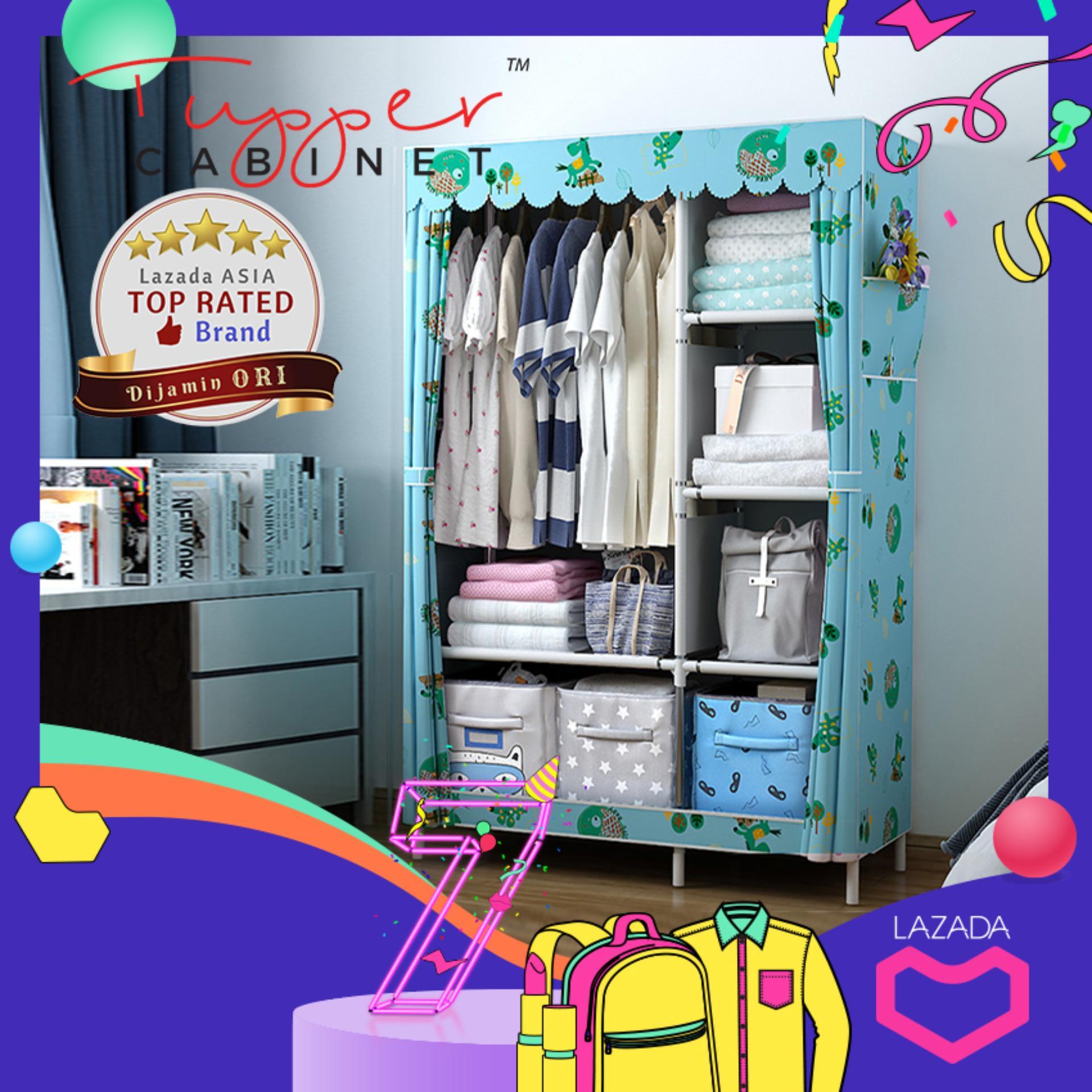 Lemari Pakaian Portable Cloth Rack Serbaguna Organizer Rak Baju Wardrobe Portabel Closet Kain Non-Woven