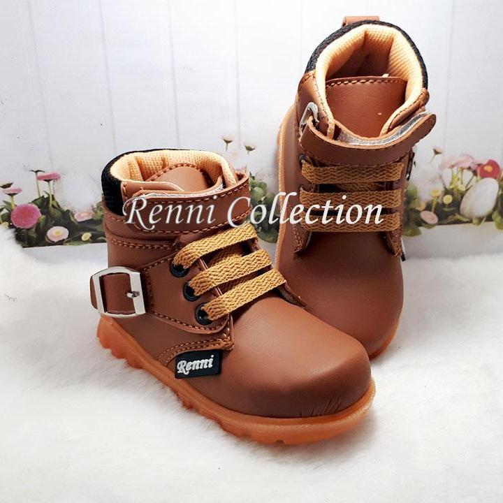 Sepatu Boots Anak Laki-Laki Tali Perekat Lucu By Renni Collection