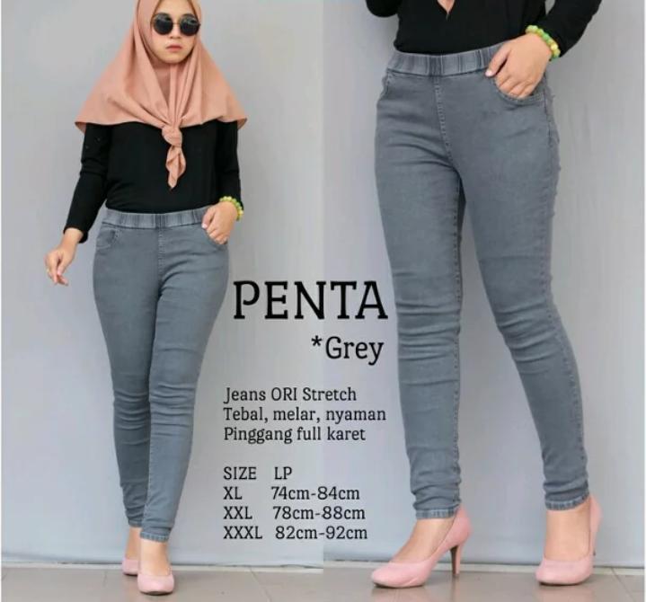 Celana Jumbo - Jeans Premium Wanita - Jumbo - Pinggang Karet - Melar - Street - 27 Sampai 38 By Alea_jeans.