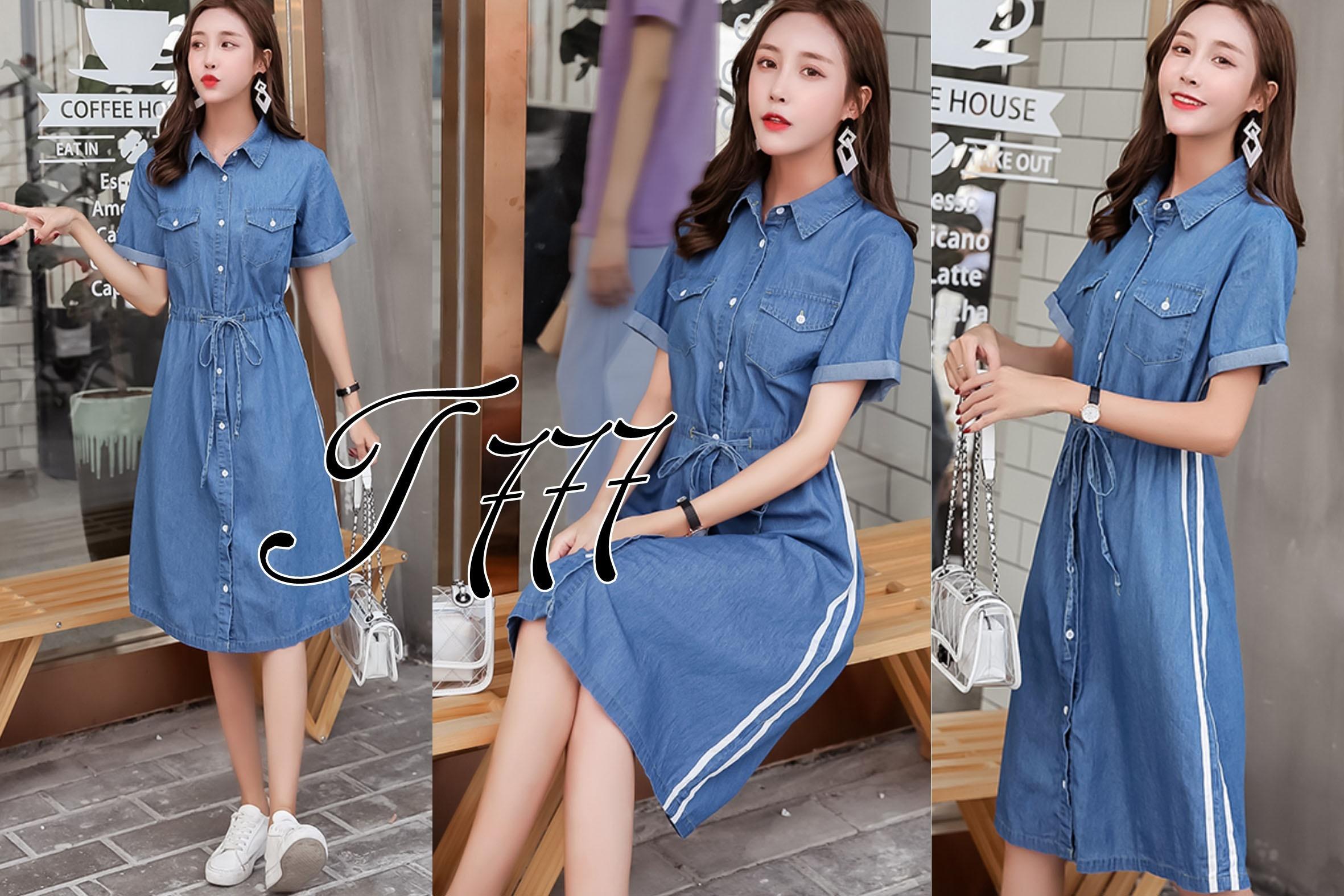 17.wear Dress Denim Pita Bahan Denim Fit to XL / Dress Wanita / Dress