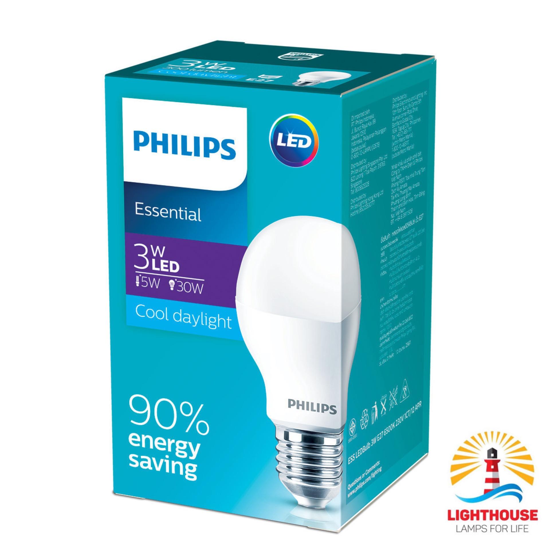 Philips Lampu LED Bulb 3W Led Essential 3 Watt E27 Putih Cool Daylight