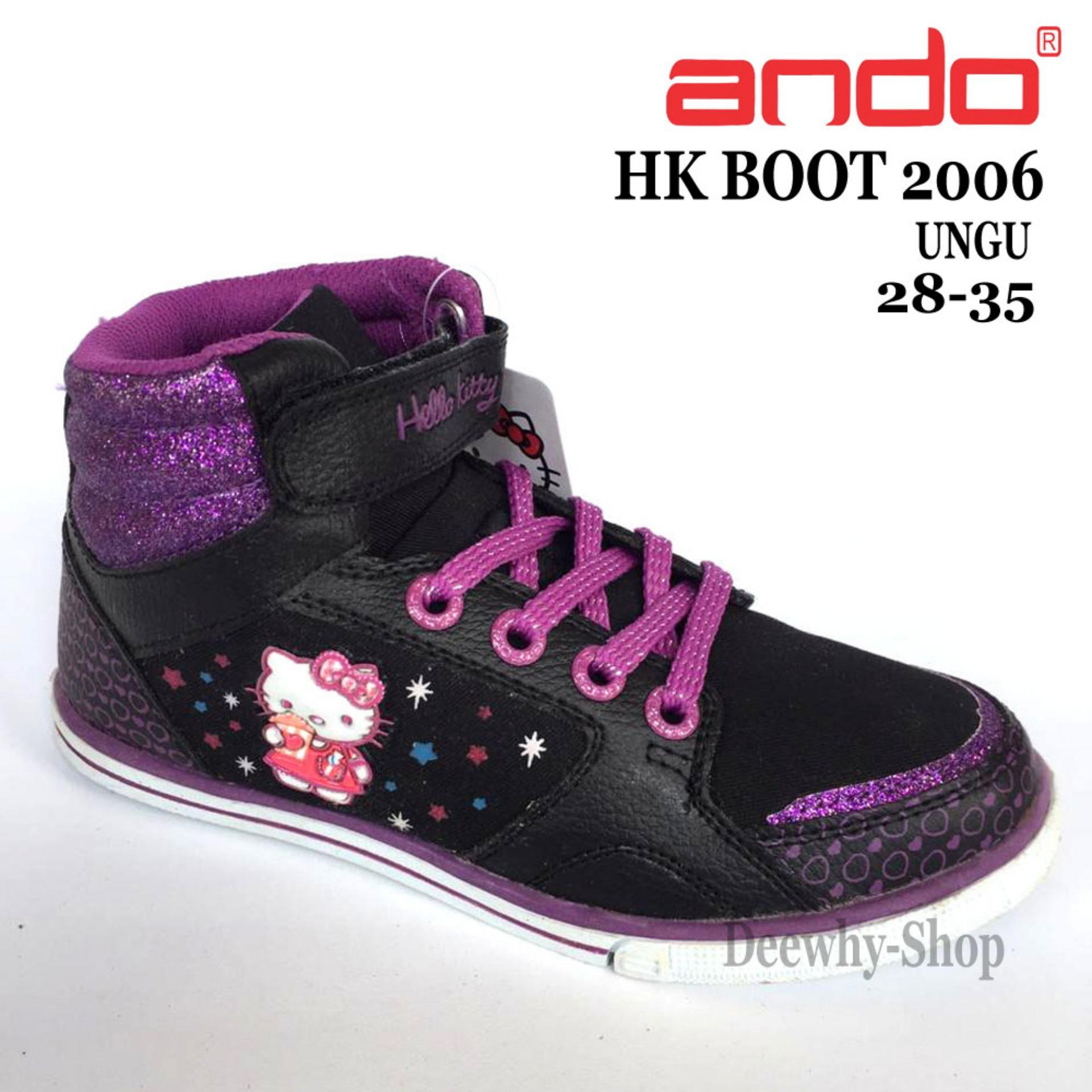 Ando Sepatu Anak Perempuan Hellokitty HK BOOT 2006 - Hitam Ungu - size 25- f96b0bc1e1