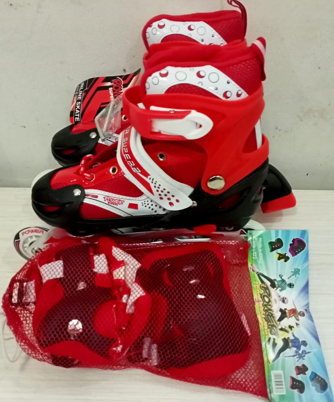 Sepatu Roda BAJAJ Plus Deker dengan Ban Atom Karet PVC Inline Skate Anak