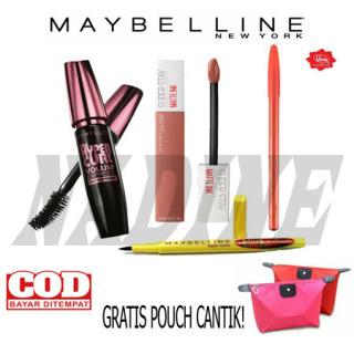 NK- (COD) - Paket Maybelline Komplit 4in1-Maskara+Eyeliner+Lipstick+Pensil Alis [Gratis Tas Kosmetik] thumbnail