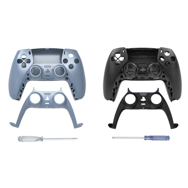 JYS 2Set Game Controller Replacement Shell Gamepad Case Front Cover Rear Cover for Sony PS5 Handle Set, Blue & Black
